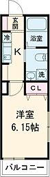 京王線 東府中駅 徒歩3分の賃貸アパート 1階1Kの間取り