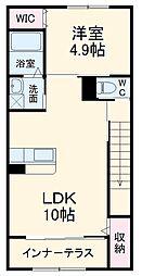 ストゥーディオII 2階1LDKの間取り