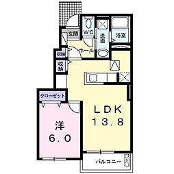 JR成田線 下総橘駅 5.3kmの賃貸アパート 1階1LDKの間取り