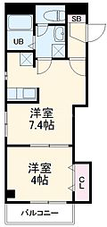 JR総武線 西千葉駅 徒歩9分の賃貸マンション 4階1DKの間取り