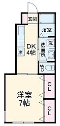 JR総武本線 都賀駅 徒歩9分の賃貸アパート 1階1Kの間取り