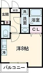 JR横浜線 町田駅 徒歩4分の賃貸アパート 2階ワンルームの間取り
