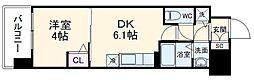 京都地下鉄東西線 太秦天神川駅 徒歩8分の賃貸マンション 5階1DKの間取り