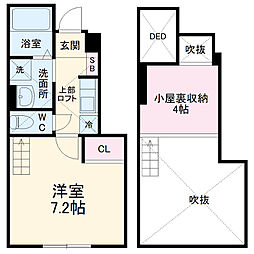 JR両毛線 国定駅 徒歩11分の賃貸アパート 1階1Kの間取り