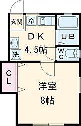 ドーム多摩 P棟 1階1DKの間取り