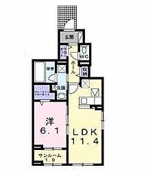 JR内房線 袖ヶ浦駅 徒歩11分の賃貸アパート 1階1LDKの間取り