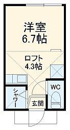 ユナイト阪東橋カルナバル 1階ワンルームの間取り