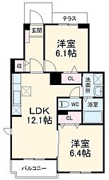 JR東海道本線 豊橋駅 バス19分 森岡下車 徒歩3分の賃貸アパート 1階2LDKの間取り