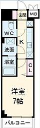 JR総武線 下総中山駅 徒歩7分の賃貸マンション 3階1Kの間取り