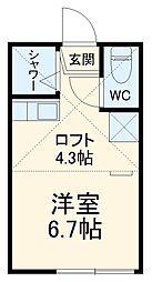 ユナイト阪東橋カルナバル 2階ワンルームの間取り