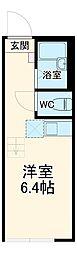 JR横須賀線 新川崎駅 徒歩9分の賃貸アパート 1階ワンルームの間取り