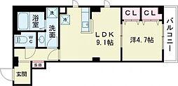 ビューノ梅田 2階1LDKの間取り