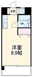龍ハイツ 6階ワンルームの間取り