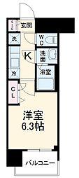 メイクス矢場町 6階1Kの間取り