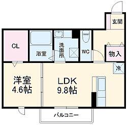 仮)D-room豊橋市東幸町ハイツ 2階1LDKの間取り