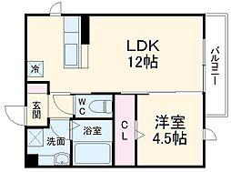 仮)D-room豊橋市東幸町ハイツ 3階1LDKの間取り