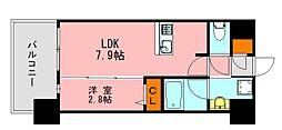 LANDIC K2620 13階1LDKの間取り