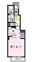 JR高崎線 北鴻巣駅 徒歩4分の賃貸アパート 1階1Kの間取り