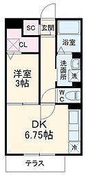 タウンコート上木崎 1階1DKの間取り