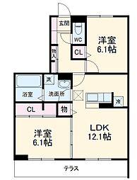 (仮)D-room堀西 1階2LDKの間取り