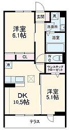 (仮)D-room堀西 2階2DKの間取り