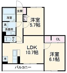 (仮)D-room堀西 2階2LDKの間取り