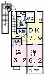 JR総武本線 榎戸駅 徒歩13分の賃貸アパート 2階2DKの間取り
