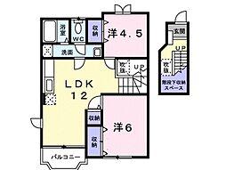 JR高崎線 本庄駅 徒歩18分の賃貸アパート 2階2LDKの間取り