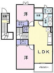 JR高崎線 本庄駅 徒歩24分の賃貸アパート 2階2LDKの間取り