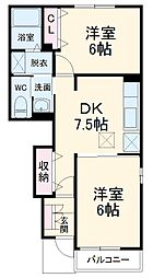 京成本線 京成成田駅 徒歩22分の賃貸アパート 1階2DKの間取り
