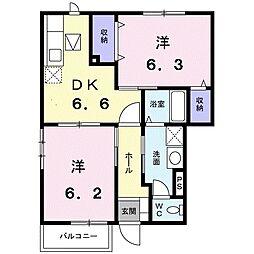 東武伊勢崎線 茂林寺前駅 徒歩13分の賃貸アパート 1階2DKの間取り