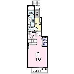 東武伊勢崎線 花崎駅 徒歩20分の賃貸アパート 1階1Kの間取り