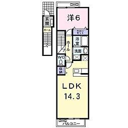 JR東北本線 新白岡駅 徒歩3分の賃貸アパート 2階1LDKの間取り