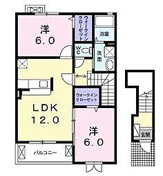 JR埼京線 南与野駅 徒歩32分の賃貸アパート 2階2LDKの間取り