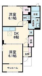 JR成田線 小見川駅 バス29分 セントラルホテル下車 徒歩26分の賃貸アパート 1階2DKの間取り