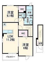 JR成田線 小見川駅 バス29分 セントラルホテル下車 徒歩26分の賃貸アパート 2階2LDKの間取り