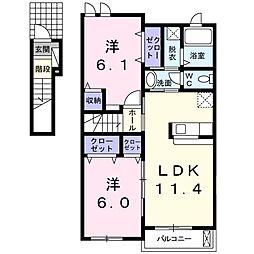 JR両毛線 小俣駅 徒歩25分の賃貸アパート 2階2LDKの間取り