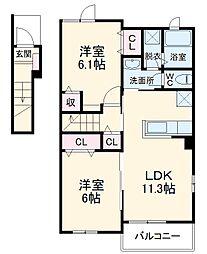 JR上越線 八木原駅 徒歩22分の賃貸アパート 2階2LDKの間取り