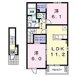 東武伊勢崎線 茂林寺前駅 徒歩15分の賃貸アパート 2階2LDKの間取り