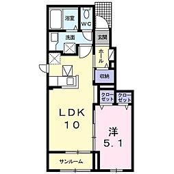 JR両毛線 足利駅 3.1kmの賃貸アパート 1階1LDKの間取り