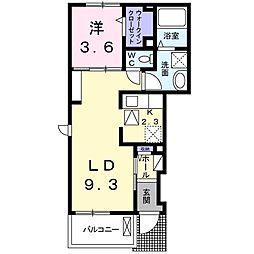 JR両毛線 足利駅 徒歩33分の賃貸アパート 1階1LDKの間取り