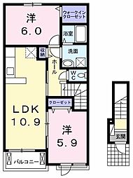 JR両毛線 岩宿駅 徒歩6分の賃貸アパート 2階2LDKの間取り