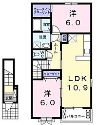 JR高崎線 神保原駅 徒歩24分の賃貸アパート 2階2LDKの間取り