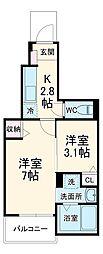 JR両毛線 前橋駅 徒歩19分の賃貸アパート 1階1SKの間取り