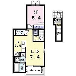 秩父鉄道 持田駅 徒歩17分の賃貸アパート 2階1LDKの間取り