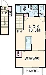 京王線 仙川駅 徒歩12分の賃貸アパート 2階1LDKの間取り