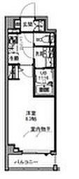 S−RESIDENCE王子east 6階1Kの間取り