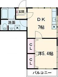 カーサ平井 3階1DKの間取り
