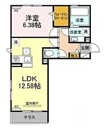 仮)D-room北岡崎 1階1LDKの間取り