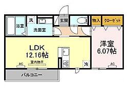 仮)D-room北岡崎 3階1LDKの間取り